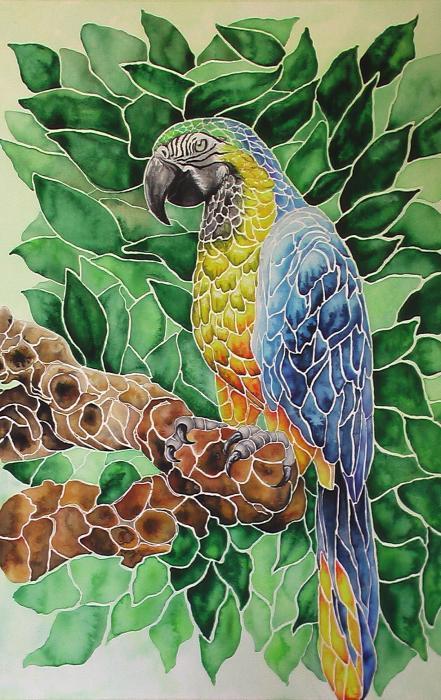 Parrot Mosaic Watercolor By Nancy Hartson Miller