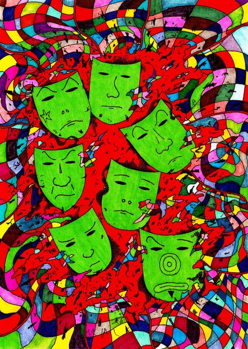 Party Of Seven Print by Teddy Campagna