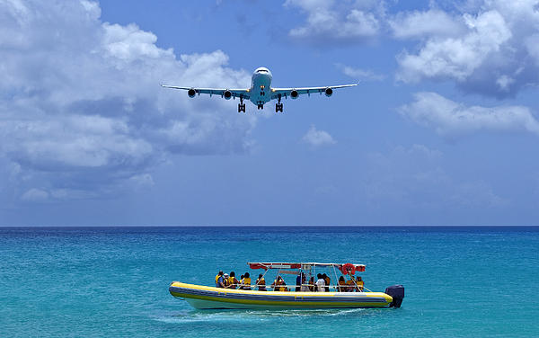 Passenger Airplane Overflies Boat. Print by Fernando Barozza