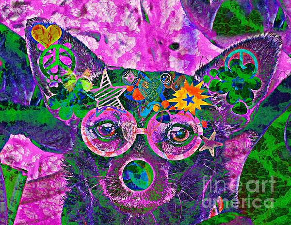 Peace And Love Chihuahua Print by Kevin Moore