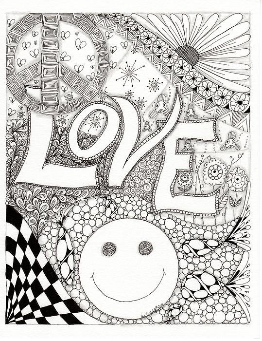 Peace Love And Happiness Print by Paula Dickerhoff