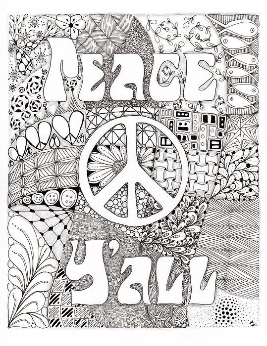 Peace Y'all Print by Paula Dickerhoff