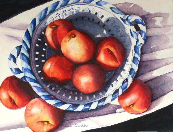 Peaches In Blue Painting  - Peaches In Blue Fine Art Print