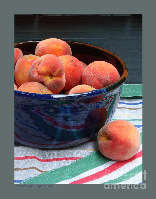 Peaches With Striped Cloth-iii Print by Patricia Overmoyer