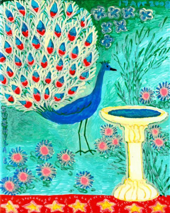 Peacock And Birdbath Painting  - Peacock And Birdbath Fine Art Print