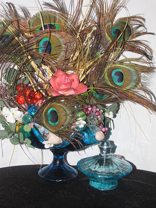 Peacock Feather Center Piece In Blue Glass Print by HollyWood Creation By linda zanini