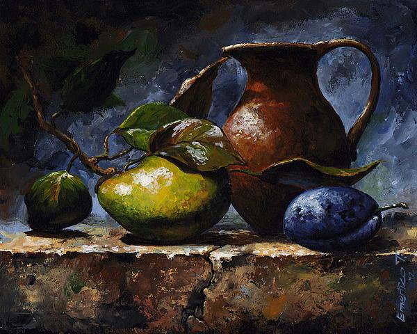 Pear And Plum Print by Emerico Imre Toth
