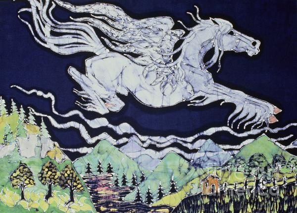 Pegasus Flying Over Stream Tapestry - Textile  - Pegasus Flying Over Stream Fine Art Print