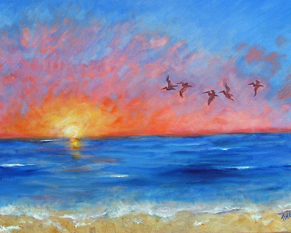 Doris Blessington - Pelicans at Sunrise