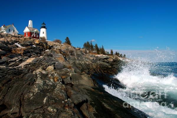 Pemaquid Point Lighthouse - Seascape Landscape Rocky Coast Maine Print by Jon Holiday