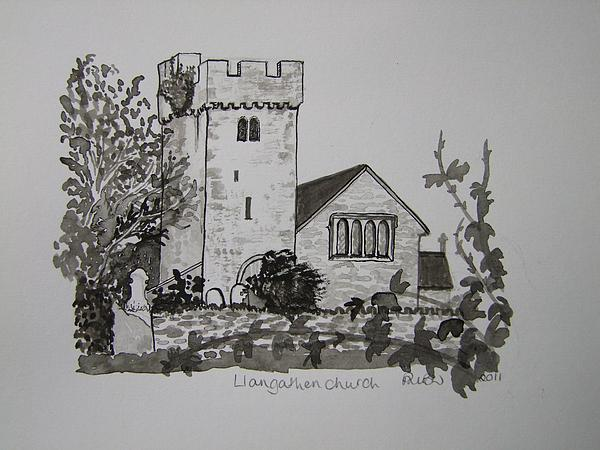 Pen And Ink-llangathen Church-02 Print by Pat Bullen-Whatling