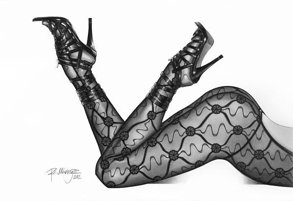 Ralph N  Murray III - Pencil Drawing Legs in Lingerie