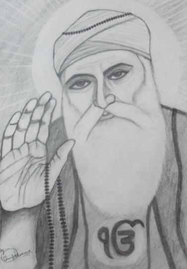 Pencil Sketch Of Guru Nanak Dev Ji by Timpi Cheema