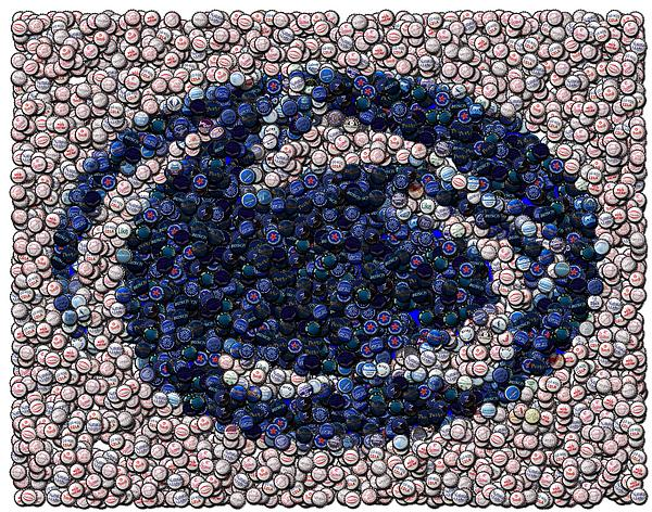 Penn State Bottle Cap Mosaic Print by Paul Van Scott