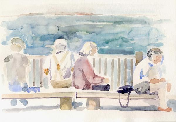 People On Benches Print by Linda Berkowitz