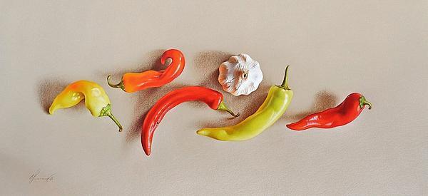Pepper Dance Print by Elena Kolotusha