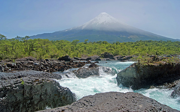Petrohue Falls And Osorno Volcano Print by Pcontreras