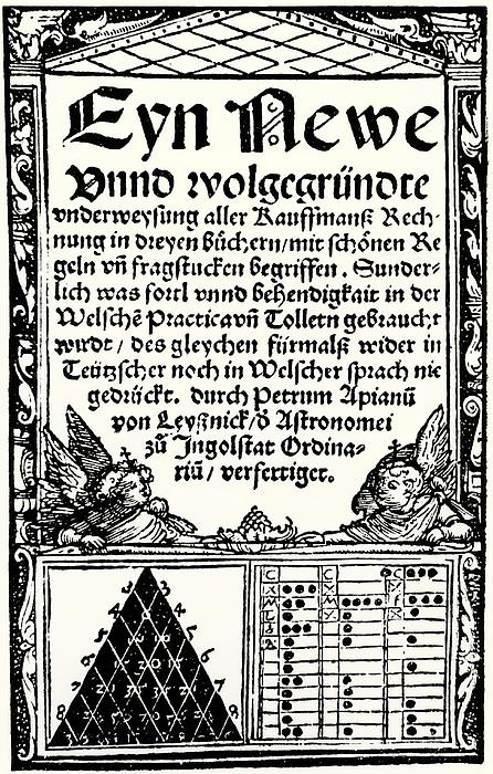 Petrus Apianus's Pascal's Triangle, 1527 Print by