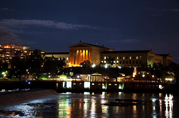 Philadelphia Art Museum And Waterworks All Lit Up Print by Bill Cannon