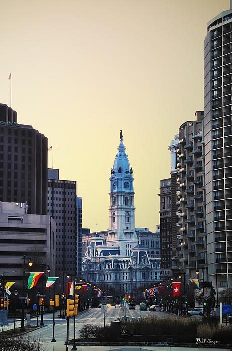Philadelphia Cityhall At Dawn Print by Bill Cannon