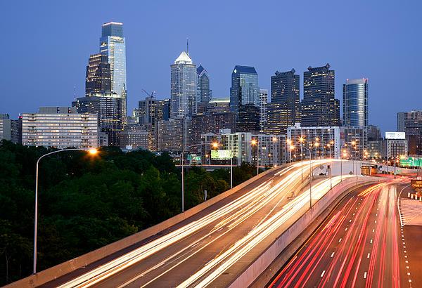 Philadelphia Skyline Night Print by Binh Ly