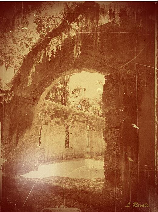 Photos In An Attic - The Ruins Print by Leslie Revels Andrews