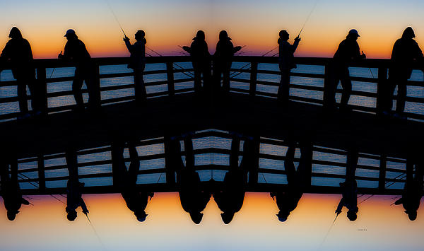 Pier Fishing At Dawn Print by Betsy C  Knapp