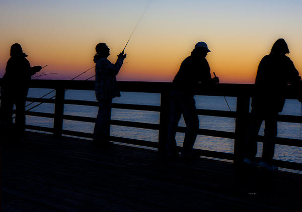 Pier Fishing At Dawn II Print by Betsy A  Cutler
