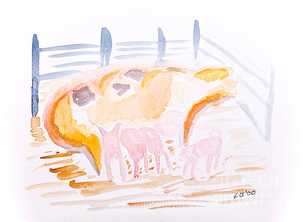 Pig With Piglets  Print by Simon Bratt Photography LRPS