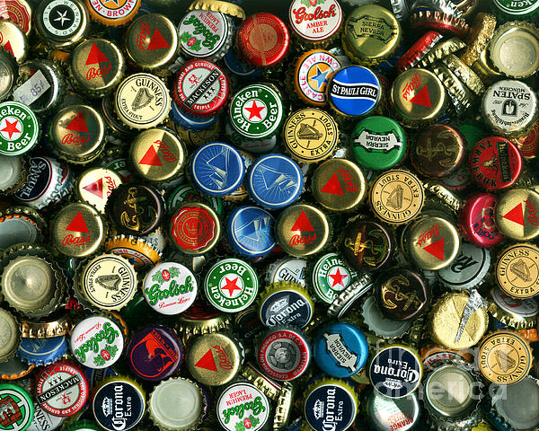 Pile Of Beer Bottle Caps . 8 To 10 Proportion Print by Wingsdomain Art and Photography
