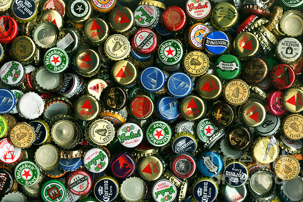 Pile Of Beer Bottle Caps . 8 To 12 Proportion Print by Wingsdomain Art and Photography