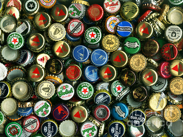 Pile Of Beer Bottle Caps . 9 To 12 Proportion Print by Wingsdomain Art and Photography