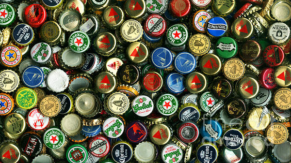 Pile Of Beer Bottle Caps . 9 To 16 Proportion Print by Wingsdomain Art and Photography