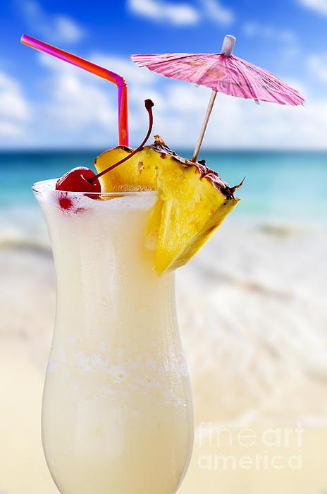 Pina Colada Cocktail On The Beach Print by Elena Elisseeva