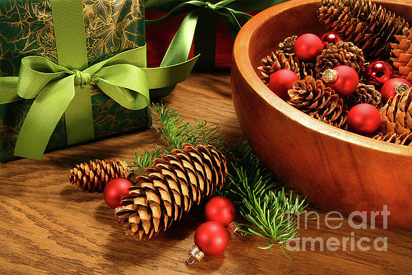 Pine Branches With Gift Tag  Print by Sandra Cunningham
