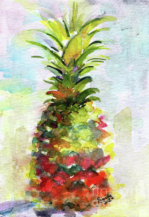 Pineapple Study Watercolor Print by Ginette Callaway