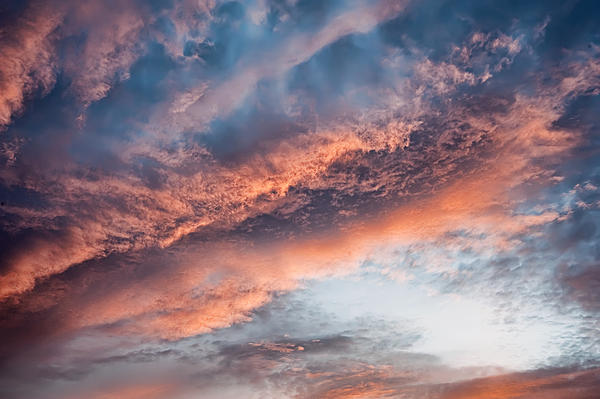 Pink Clouds And Blue Sky Print by Scott Norris