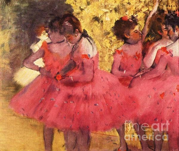 Pink Dancers Before Ballet Print by Pg Reproductions