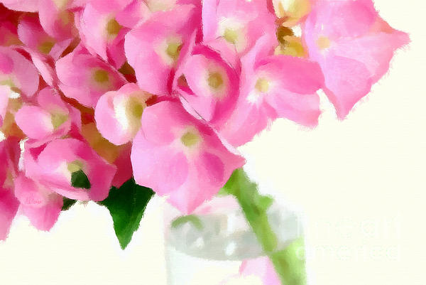 Pink Hydrangea In A Glass Vase Print by Anne Kitzman