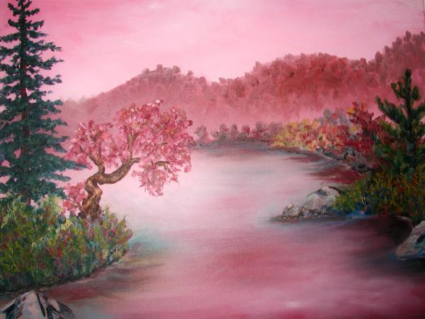 Pink Lake Painting  - Pink Lake Fine Art Print