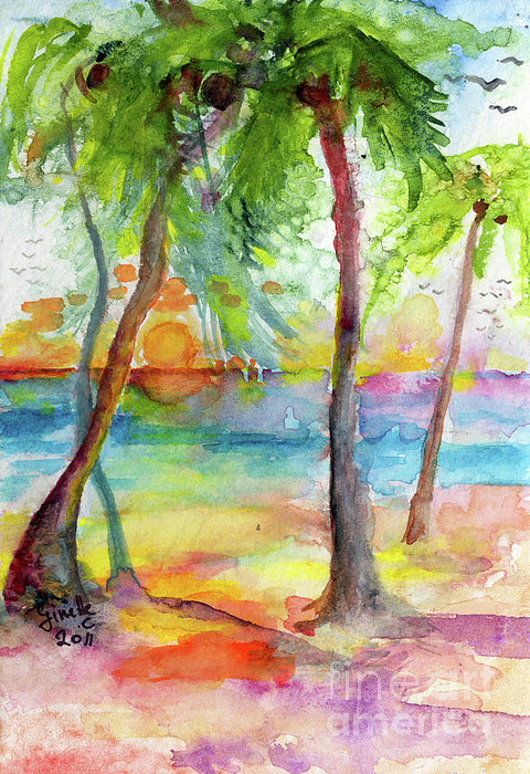 Pink Sands And Palms Island Dreams Watercolor Print by Ginette Callaway