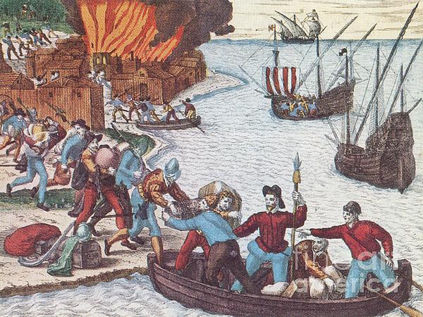 Pirates Burn Havana, 1555 Print by Photo Researchers