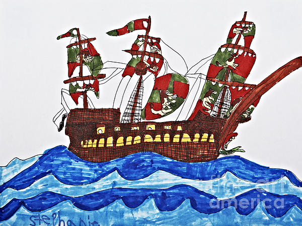 Pirate's Ship Print by Stephanie Ward