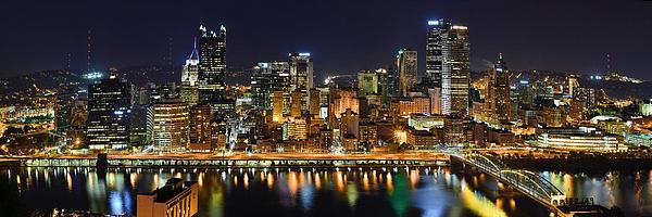 Pittsburgh Pennsylvania Skyline At Night Panorama Print by Jon Holiday