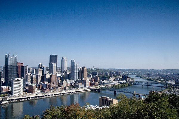 Pittsburgh Skyline And Allegheny River Print by Everett