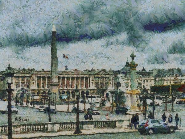 Place De La Concorde Print by Aaron Stokes