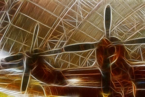 Plane In The Hanger Print by Paul Ward