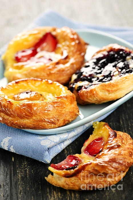 Plate Of Fruit Danishes Print by Elena Elisseeva