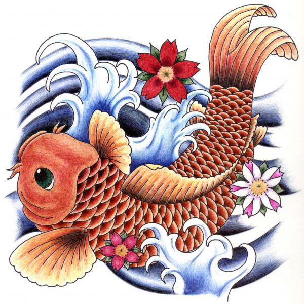 Playing Koi Print by Maria Arango
