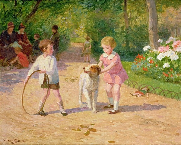 Playing With The Hoop Print by Victor Gabriel Gilbert